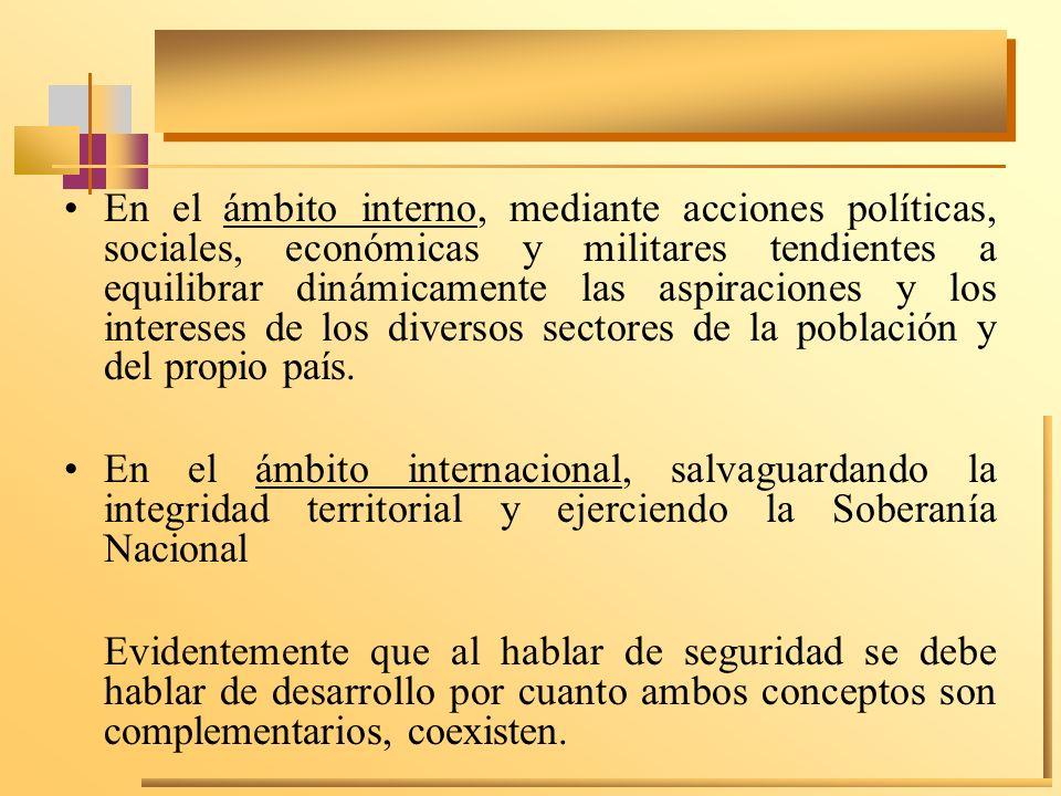 En el ámbito interno, mediante acciones políticas, sociales, económicas y militares tendientes a equilibrar dinámicamente las aspiraciones y los inter