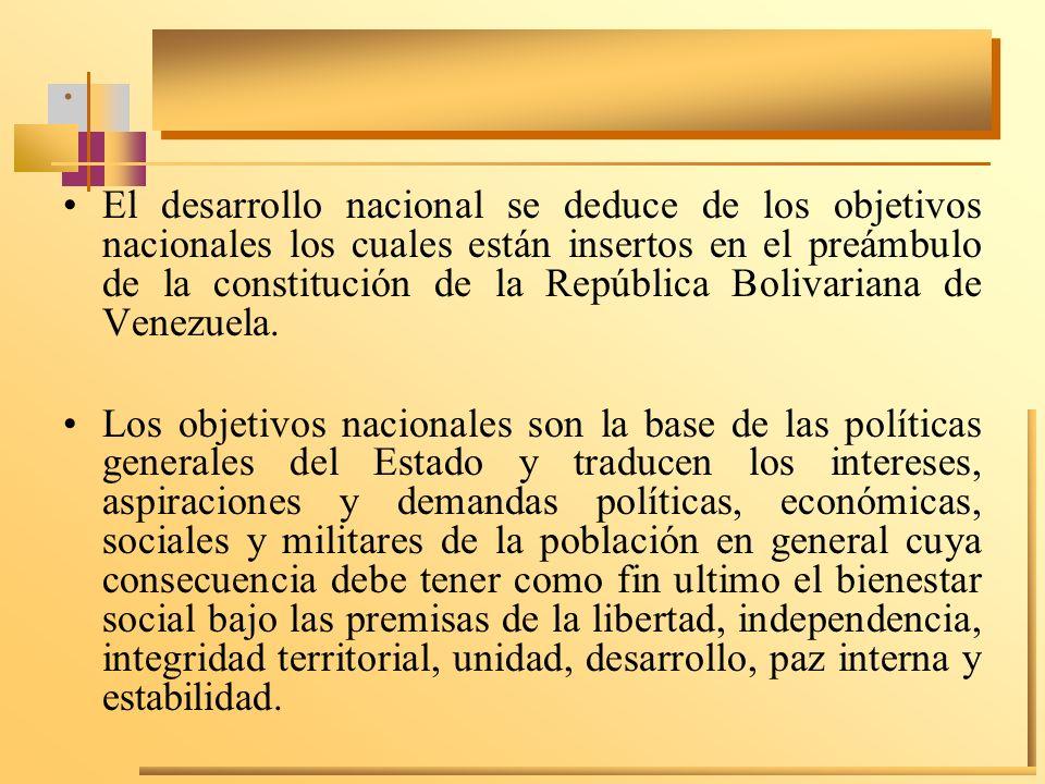 . El desarrollo nacional se deduce de los objetivos nacionales los cuales están insertos en el preámbulo de la constitución de la República Bolivarian