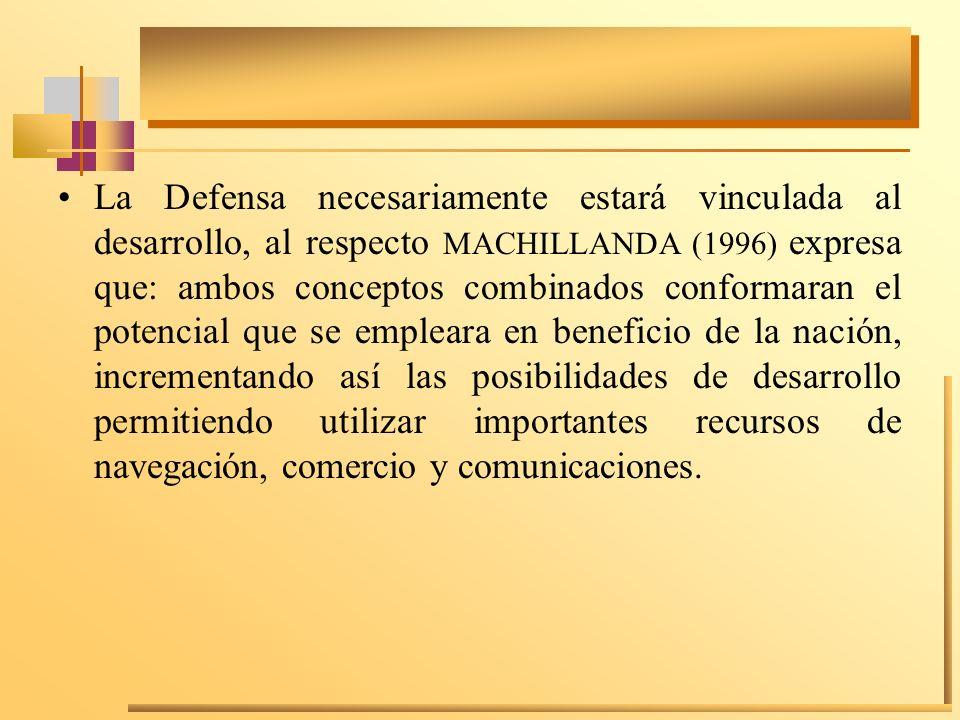 La Defensa necesariamente estará vinculada al desarrollo, al respecto MACHILLANDA (1996) expresa que: ambos conceptos combinados conformaran el potenc