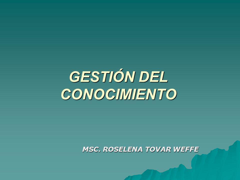 GESTIÓN DEL CONOCIMIENTO MSC. ROSELENA TOVAR WEFFE