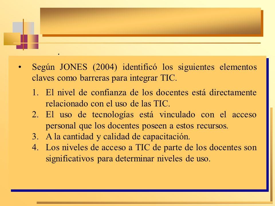 . Según JONES (2004) identificó los siguientes elementos claves como barreras para integrar TIC. 1.El nivel de confianza de los docentes está directam