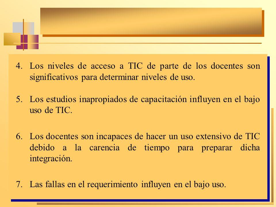 5.Los estudios inapropiados de capacitación influyen en el bajo uso de TIC. 6.Los docentes son incapaces de hacer un uso extensivo de TIC debido a la