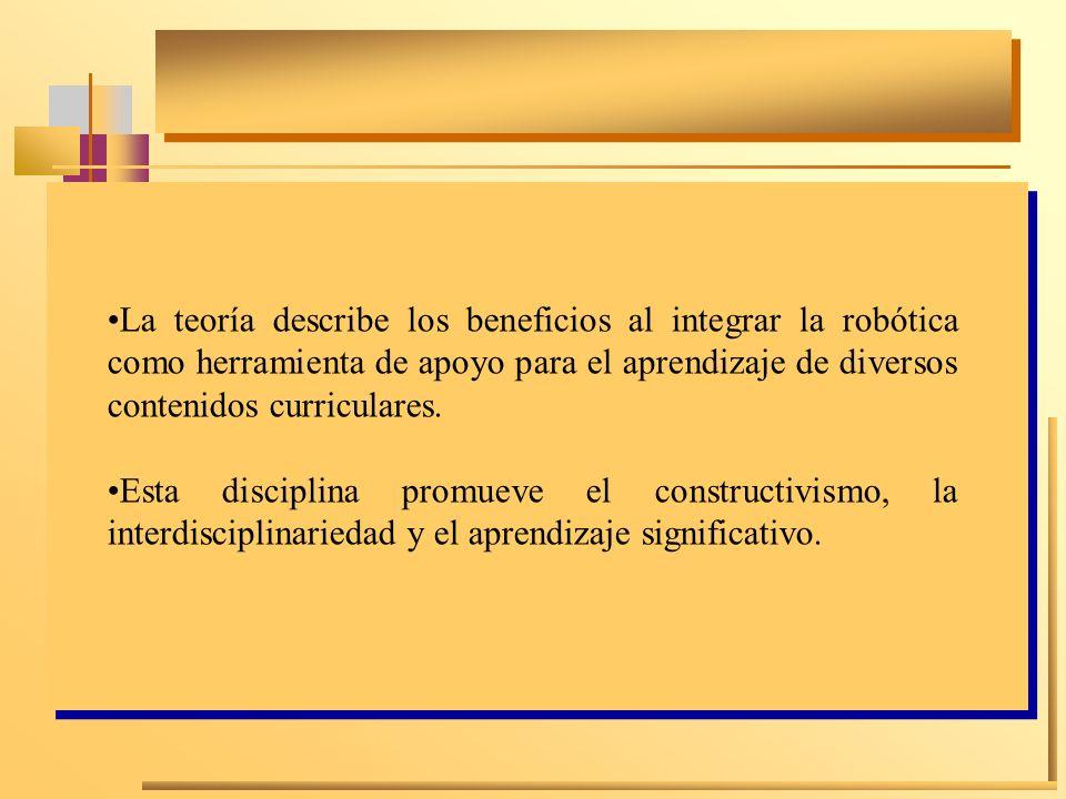 La teoría describe los beneficios al integrar la robótica como herramienta de apoyo para el aprendizaje de diversos contenidos curriculares. Esta disc