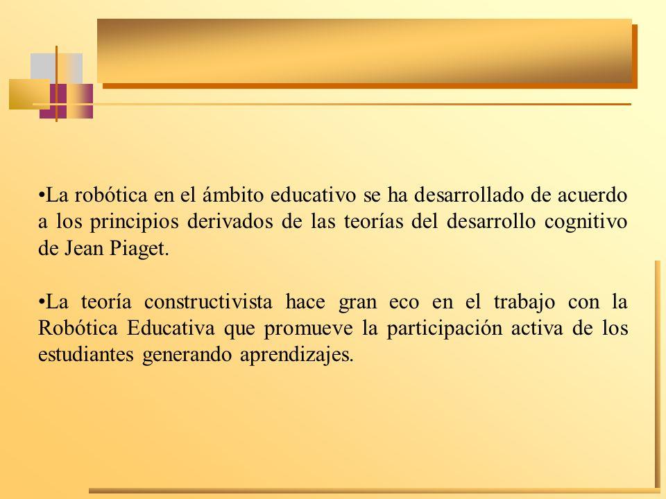 La robótica en el ámbito educativo se ha desarrollado de acuerdo a los principios derivados de las teorías del desarrollo cognitivo de Jean Piaget. La