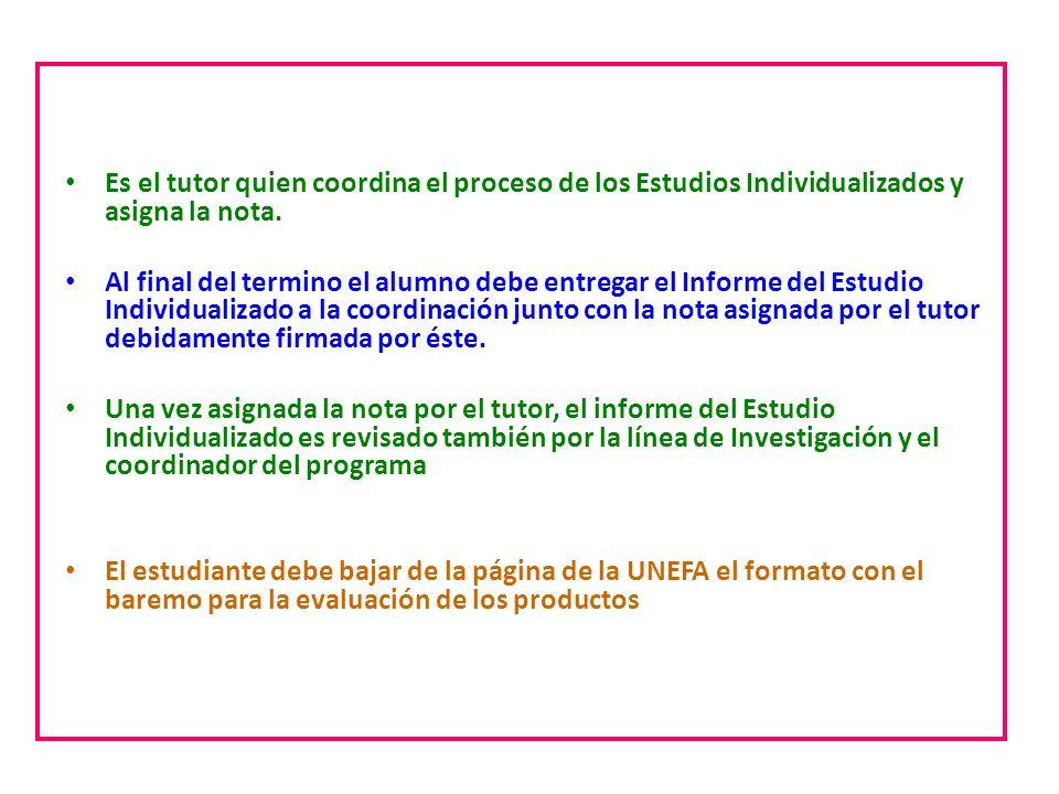 Estudios individualizados Es el tutor quien coordina el proceso de los Estudios Individualizados y asigna la nota. Al final del termino el alumno debe