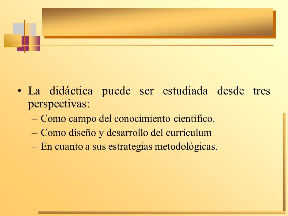 La didáctica puede ser estudiada desde tres perspectivas: –Como campo del conocimiento científico. –Como diseño y desarrollo del curriculum –En cuanto