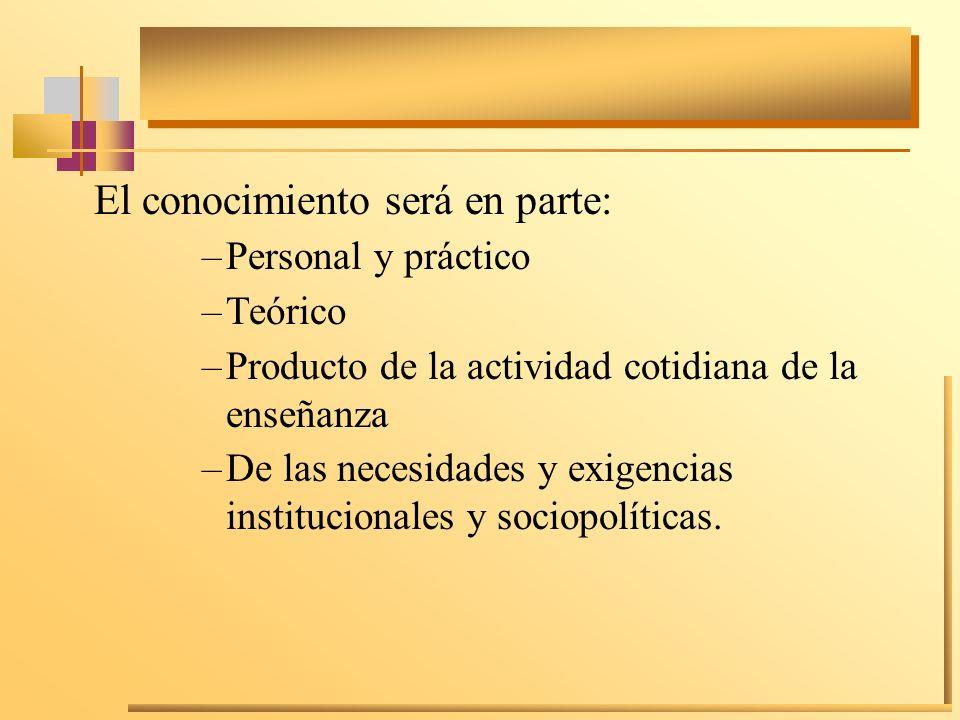 El conocimiento será en parte: –Personal y práctico –Teórico –Producto de la actividad cotidiana de la enseñanza –De las necesidades y exigencias inst