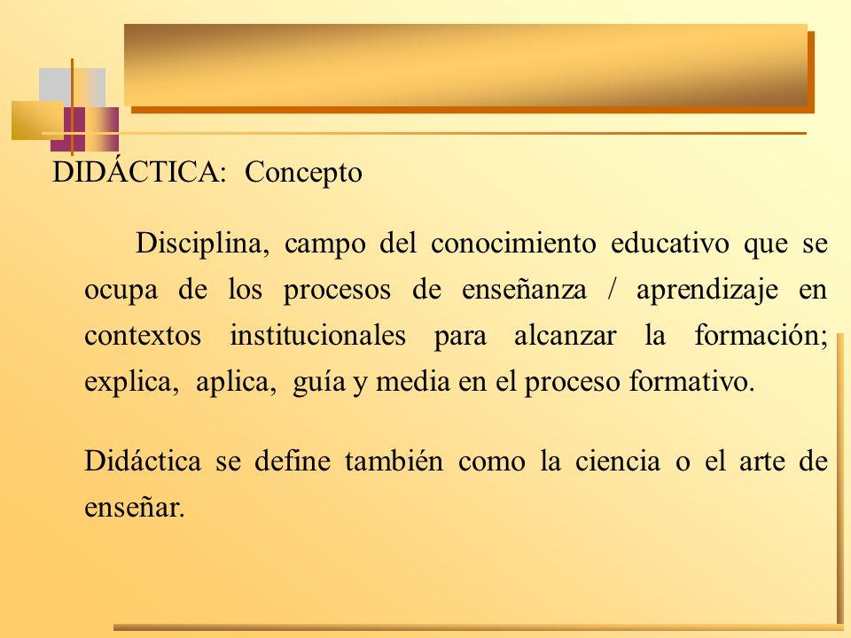 DIDÁCTICA: Concepto Disciplina, campo del conocimiento educativo que se ocupa de los procesos de enseñanza / aprendizaje en contextos institucionales