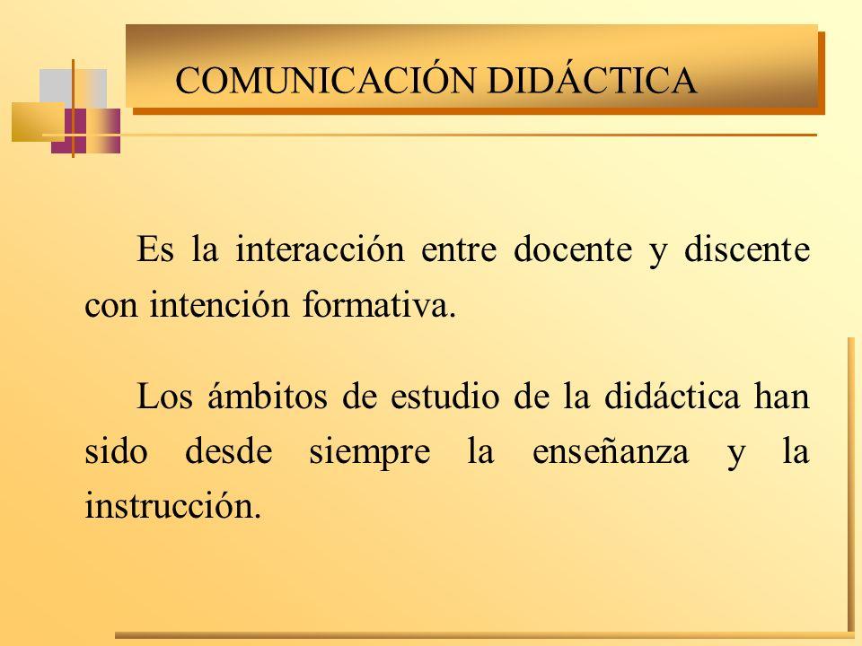 COMUNICACIÓN DIDÁCTICA Es la interacción entre docente y discente con intención formativa. Los ámbitos de estudio de la didáctica han sido desde siemp
