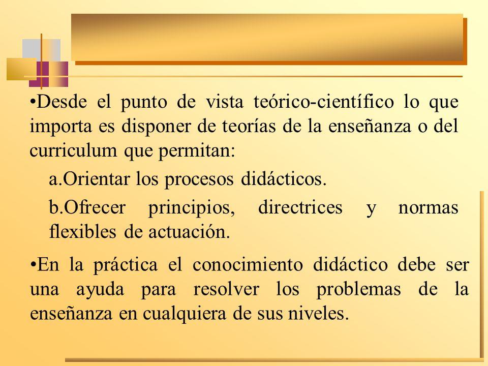 A partir de esta doble vertiente teoría y práctica de la didáctica, incluyendo la reflexión, los docentes deben protagonizar el proceso de construcción del conocimiento didáctico y la elaboración de las correspondientes teorías.