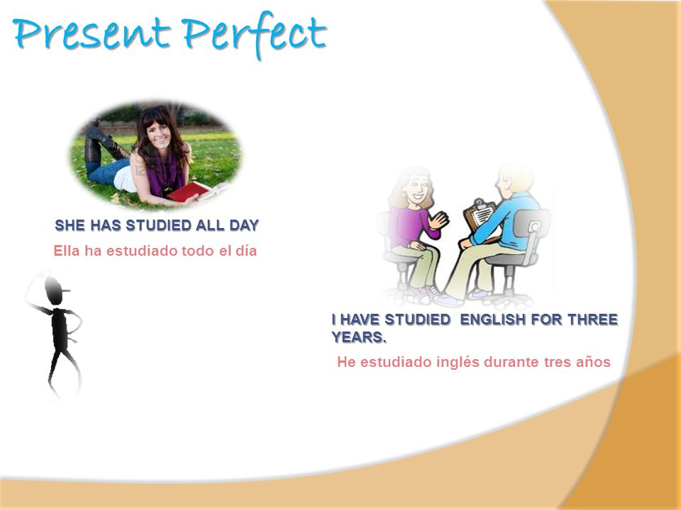 Present Perfect SHE HAS STUDIED ALL DAY Ella ha estudiado todo el día I HAVE STUDIED ENGLISH FOR THREE YEARS. He estudiado inglés durante tres años