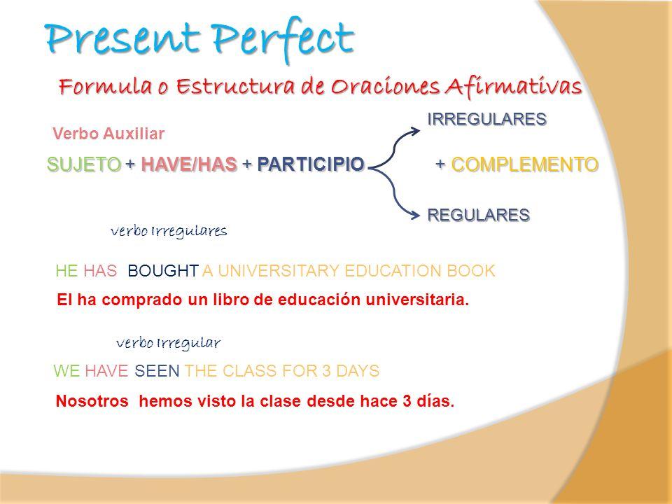 Present Perfect SUJETO + HAVE/HAS + PARTICIPIO + COMPLEMENTO Verbo Auxiliar Formula o Estructura de Oraciones Afirmativas IRREGULARES REGULARES verbo