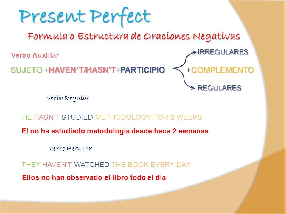 Present Perfect SUJETO +HAVENT/HASNT+PARTICIPIO +COMPLEMENTO SUJETO +HAVENT/HASNT+PARTICIPIO +COMPLEMENTO Verbo Auxiliar Formula o Estructura de Oraci