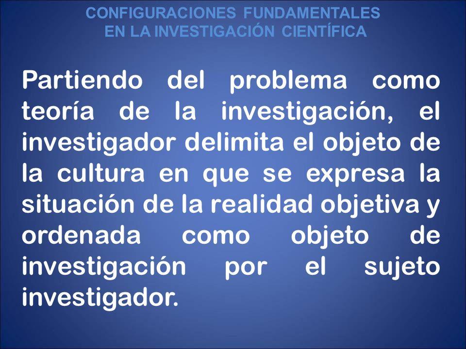 Partiendo del problema como teoría de la investigación, el investigador delimita el objeto de la cultura en que se expresa la situación de la realidad