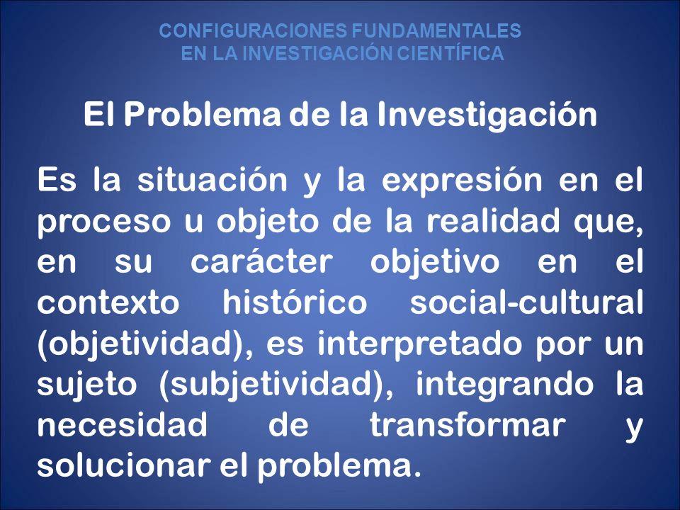 El Problema de la Investigación Es la situación y la expresión en el proceso u objeto de la realidad que, en su carácter objetivo en el contexto histó