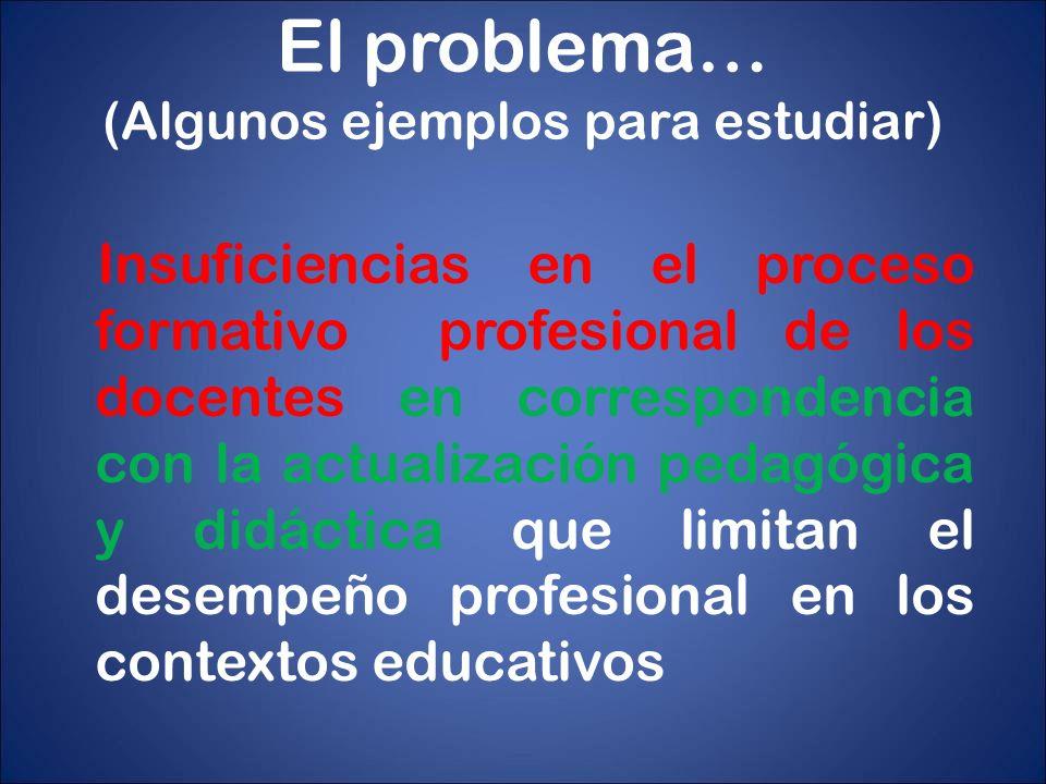 El problema… (Algunos ejemplos para estudiar) Insuficiencias en el proceso formativo profesional de los docentes en correspondencia con la actualizaci