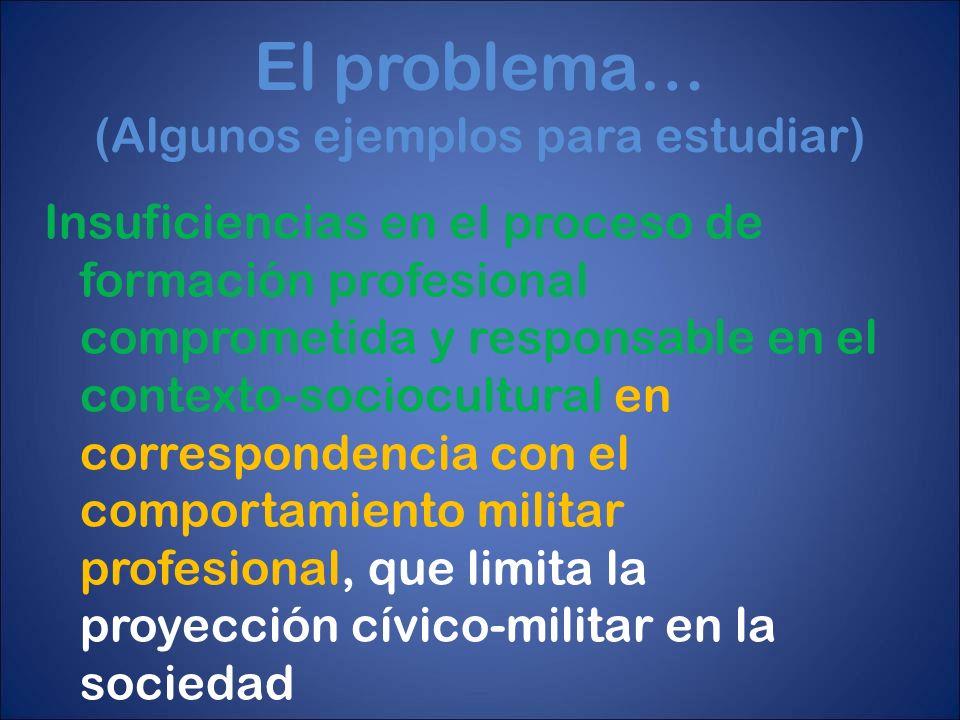 El problema… (Algunos ejemplos para estudiar) Insuficiencias en el proceso de formación profesional comprometida y responsable en el contexto-sociocul