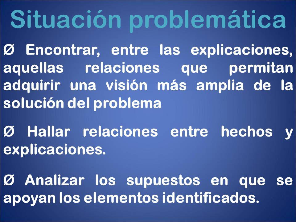Situación problemática Ø Encontrar, entre las explicaciones, aquellas relaciones que permitan adquirir una visión más amplia de la solución del proble
