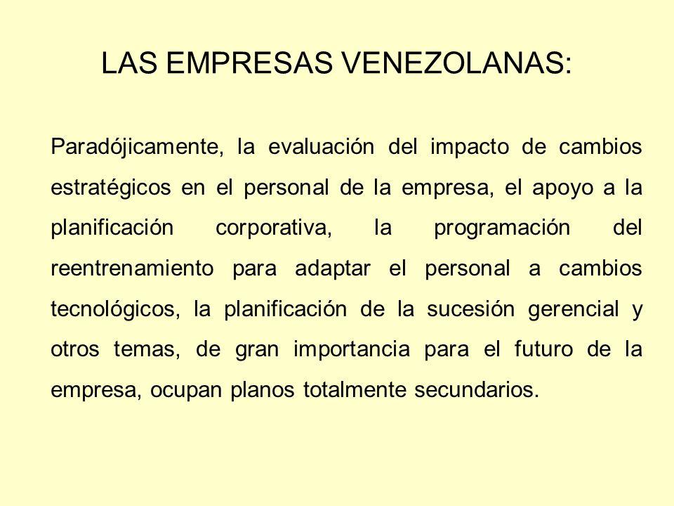 LAS EMPRESAS VENEZOLANAS: Paradójicamente, la evaluación del impacto de cambios estratégicos en el personal de la empresa, el apoyo a la planificación