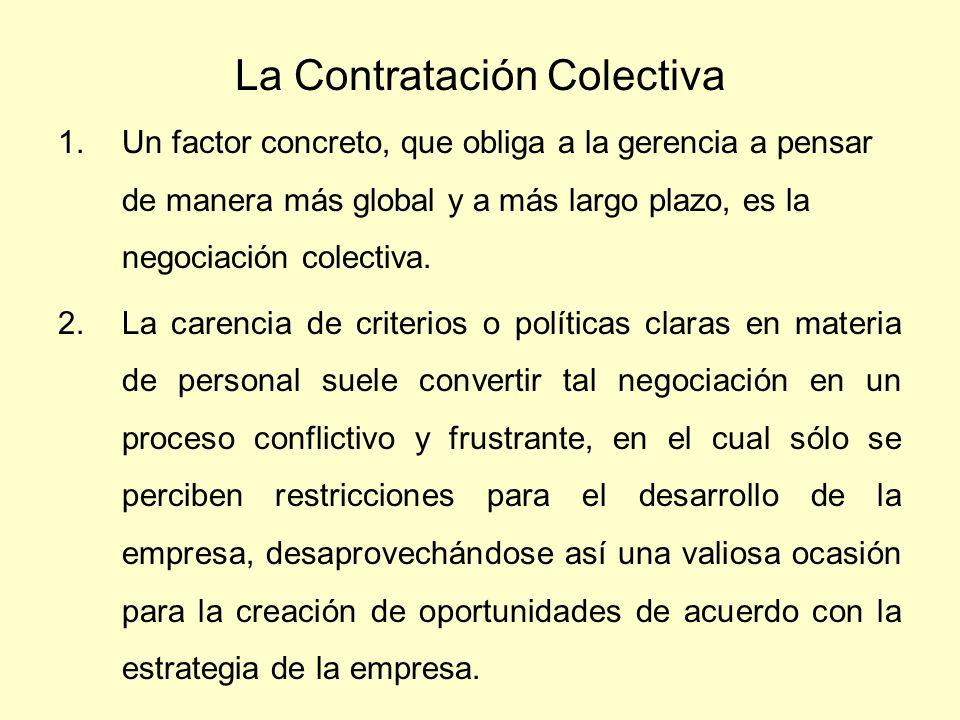 La Contratación Colectiva 1.Un factor concreto, que obliga a la gerencia a pensar de manera más global y a más largo plazo, es la negociación colectiv