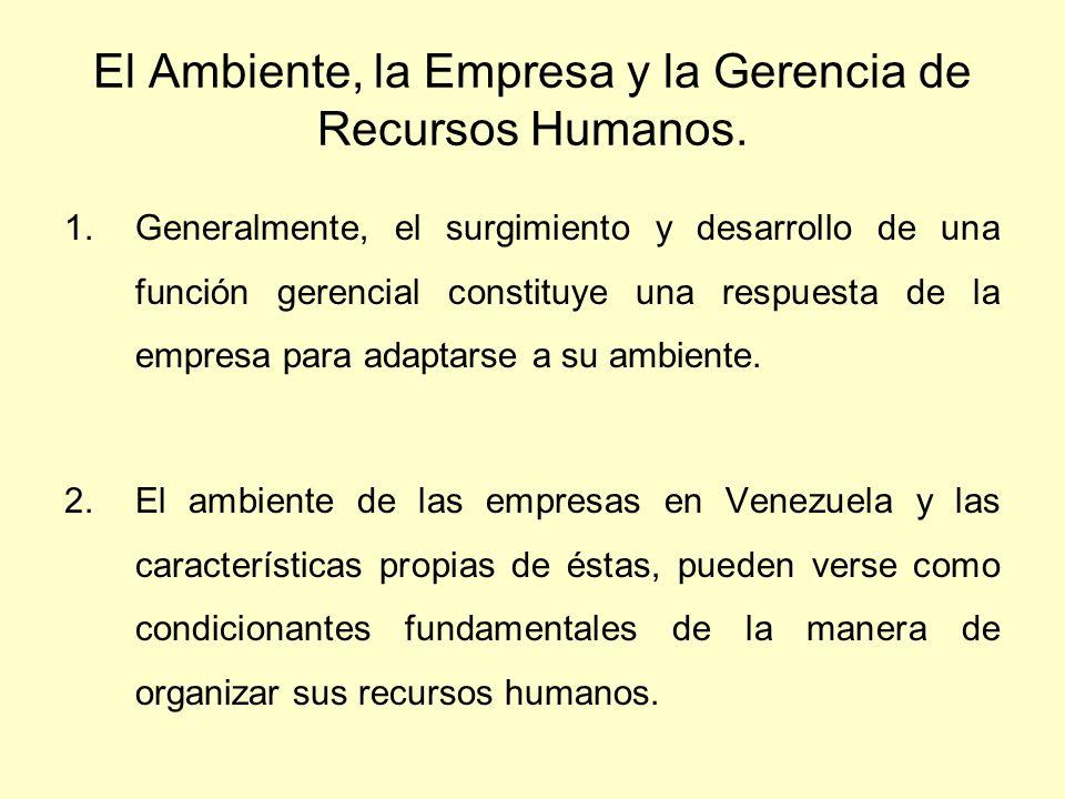 El Ambiente, la Empresa y la Gerencia de Recursos Humanos. 1.Generalmente, el surgimiento y desarrollo de una función gerencial constituye una respues