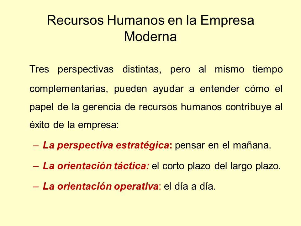 Recursos Humanos en la Empresa Moderna Tres perspectivas distintas, pero al mismo tiempo complementarias, pueden ayudar a entender cómo el papel de la