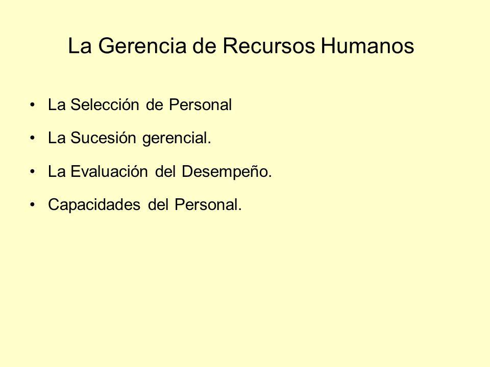 La Gerencia de Recursos Humanos La Selección de Personal La Sucesión gerencial. La Evaluación del Desempeño. Capacidades del Personal.