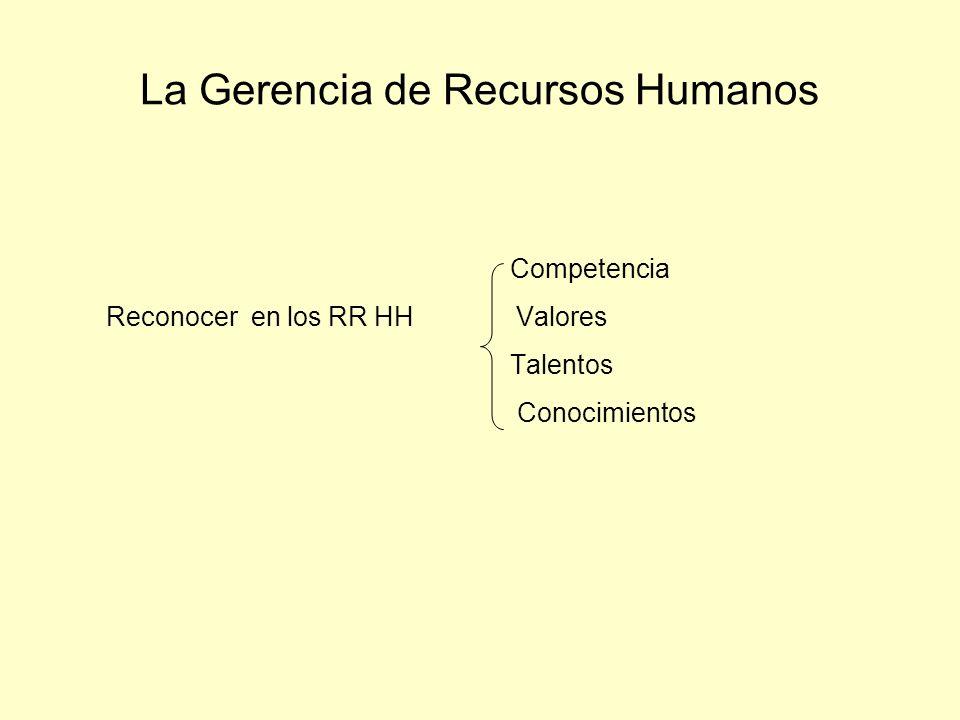 La Gerencia de Recursos Humanos Competencia Reconocer en los RR HH Valores Talentos Conocimientos