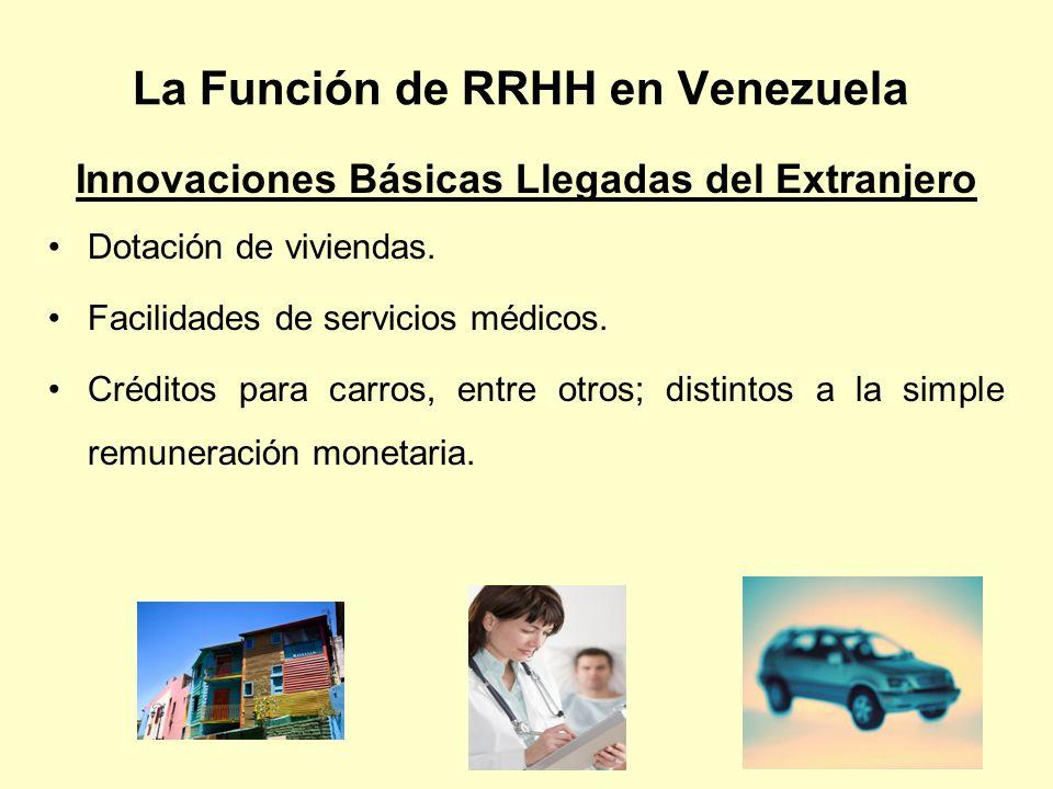 La Función de RRHH en Venezuela Innovaciones Básicas Llegadas del Extranjero Dotación de viviendas. Facilidades de servicios médicos. Créditos para ca