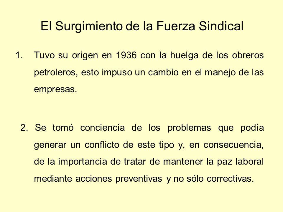El Surgimiento de la Fuerza Sindical 1.Tuvo su origen en 1936 con la huelga de los obreros petroleros, esto impuso un cambio en el manejo de las empre