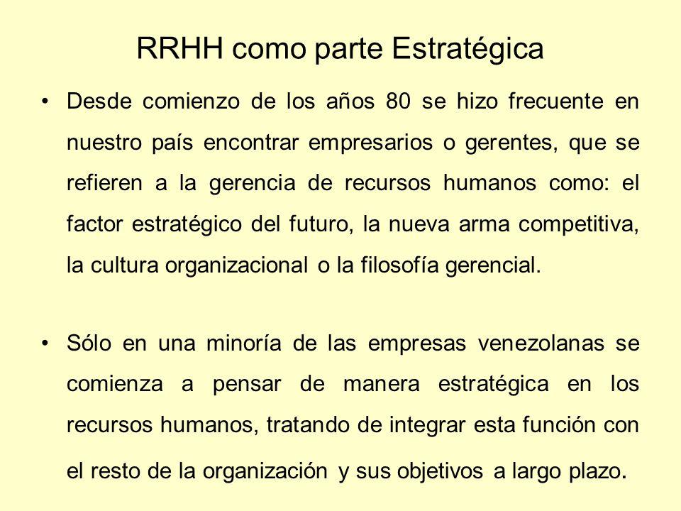 RRHH como parte Estratégica Desde comienzo de los años 80 se hizo frecuente en nuestro país encontrar empresarios o gerentes, que se refieren a la ger