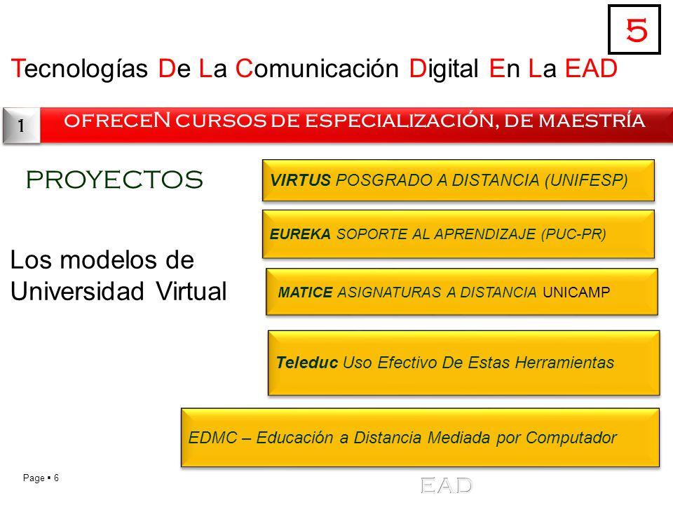 Page 6 Tecnologías De La Comunicación Digital En La EAD ofreceN cursos de especialización, de maestría 5 1 1 PROYECTOS Los modelos de Universidad Virt