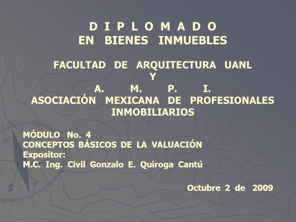 D I P L O M A D O EN BIENES INMUEBLES FACULTAD DE ARQUITECTURA UANL Y A. M. P. I. ASOCIACIÓN MEXICANA DE PROFESIONALES INMOBILIARIOS MÓDULO No. 4 CONC