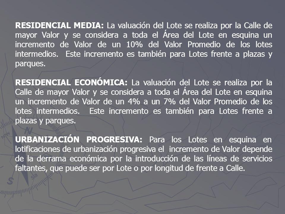 RESIDENCIAL MEDIA: La valuación del Lote se realiza por la Calle de mayor Valor y se considera a toda el Área del Lote en esquina un incremento de Val