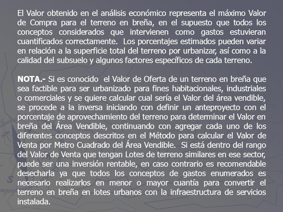 El Valor obtenido en el análisis económico representa el máximo Valor de Compra para el terreno en breña, en el supuesto que todos los conceptos consi
