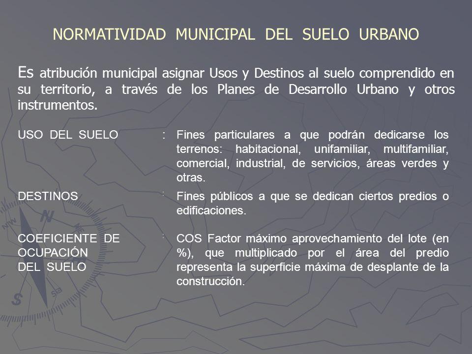 NORMATIVIDAD MUNICIPAL DEL SUELO URBANO Es atribución municipal asignar Usos y Destinos al suelo comprendido en su territorio, a través de los Planes