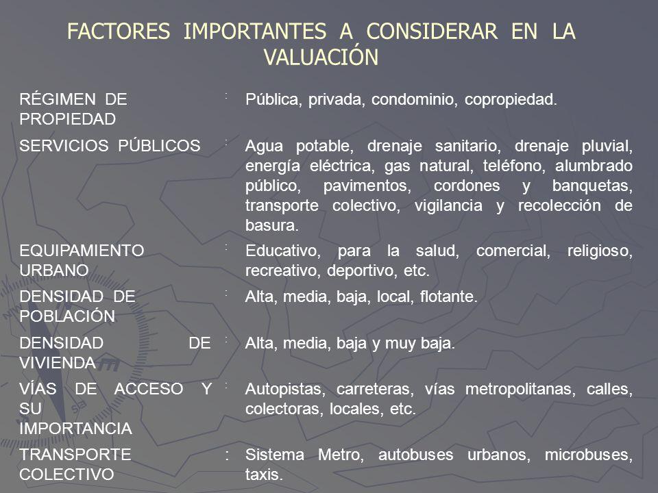FACTORES IMPORTANTES A CONSIDERAR EN LA VALUACIÓN RÉGIMEN DE PROPIEDAD : Pública, privada, condominio, copropiedad. SERVICIOS PÚBLICOS : Agua potable,