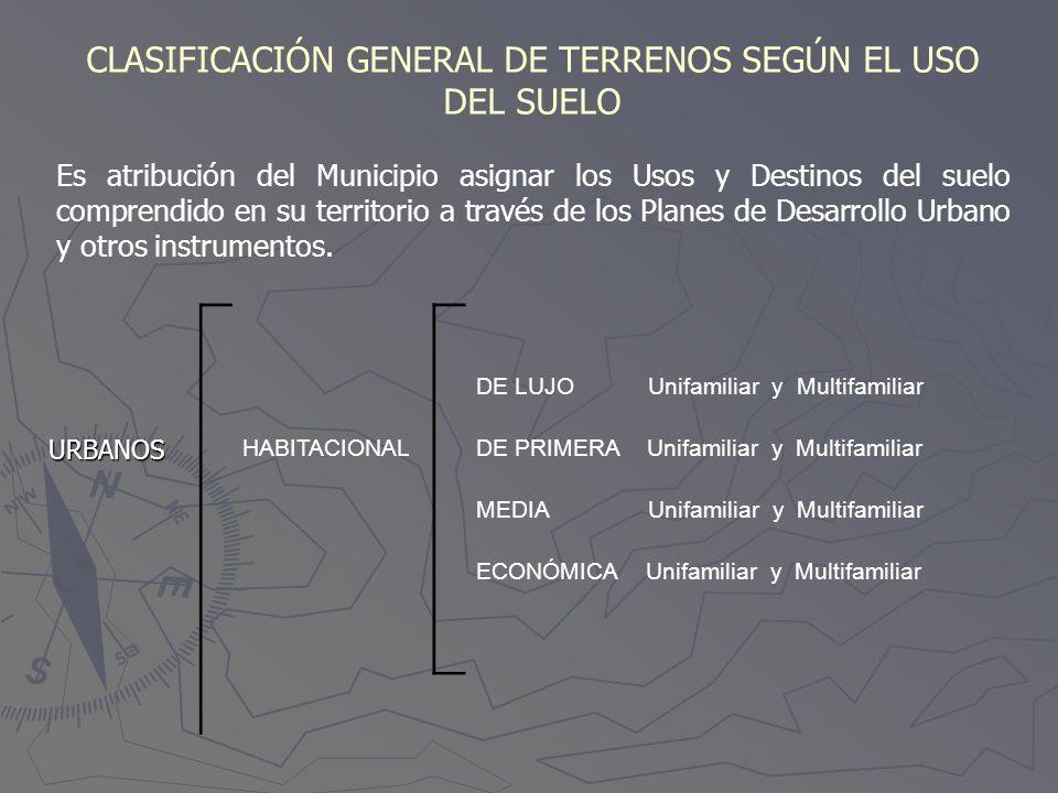 CLASIFICACIÓN GENERAL DE TERRENOS SEGÚN EL USO DEL SUELO Es atribución del Municipio asignar los Usos y Destinos del suelo comprendido en su territori