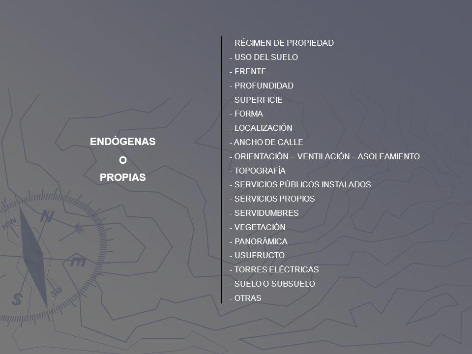 ENDÓGENAS O PROPIAS - RÉGIMEN DE PROPIEDAD - USO DEL SUELO - FRENTE - PROFUNDIDAD - SUPERFICIE - FORMA - LOCALIZACIÓN - ANCHO DE CALLE - ORIENTACIÓN –
