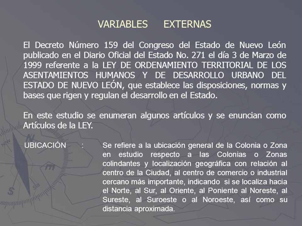 VARIABLES EXTERNAS El Decreto Número 159 del Congreso del Estado de Nuevo León publicado en el Diario Oficial del Estado No. 271 el día 3 de Marzo de