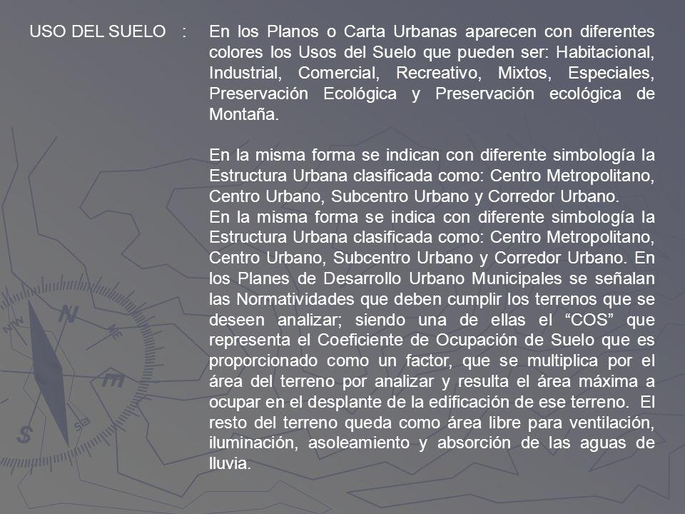 USO DEL SUELO:En los Planos o Carta Urbanas aparecen con diferentes colores los Usos del Suelo que pueden ser: Habitacional, Industrial, Comercial, Re