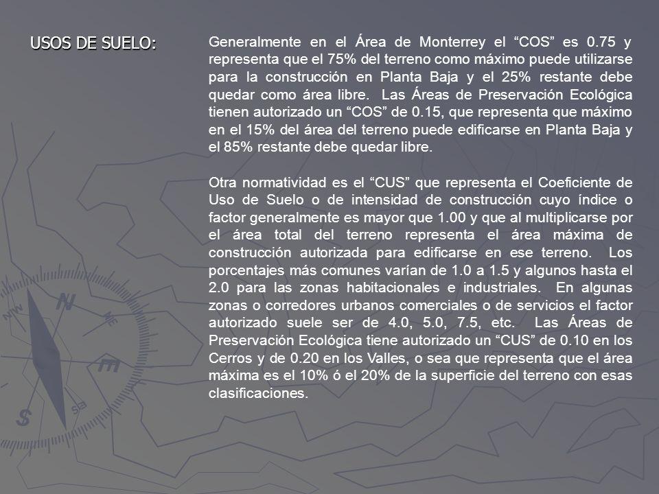 USOS DE SUELO: Generalmente en el Área de Monterrey el COS es 0.75 y representa que el 75% del terreno como máximo puede utilizarse para la construcci