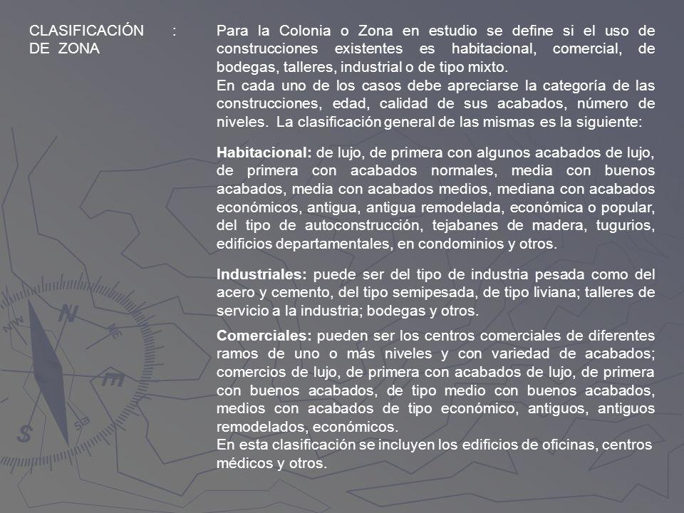 CLASIFICACIÓN DE ZONA :Para la Colonia o Zona en estudio se define si el uso de construcciones existentes es habitacional, comercial, de bodegas, tall