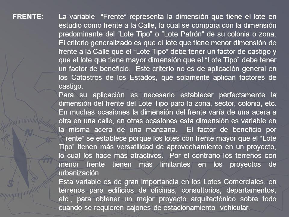 FRENTE:La variable Frente representa la dimensión que tiene el lote en estudio como frente a la Calle, la cual se compara con la dimensión predominant