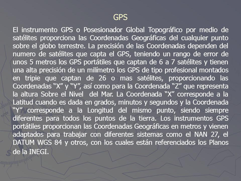 GPS El instrumento GPS o Posesionador Global Topográfico por medio de satélites proporciona las Coordenadas Geográficas del cualquier punto sobre el g