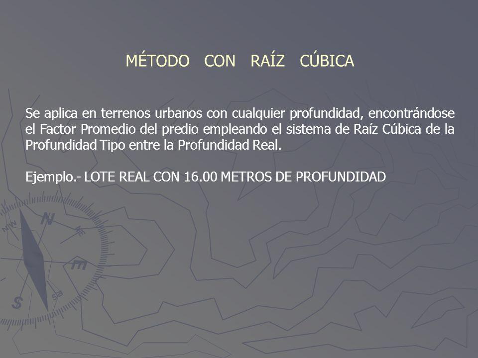 MÉTODO CON RAÍZ CÚBICA Se aplica en terrenos urbanos con cualquier profundidad, encontrándose el Factor Promedio del predio empleando el sistema de Ra