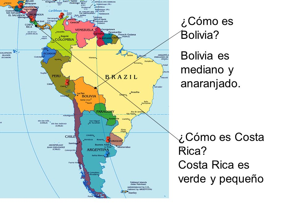 ¿Cómo es Bolivia? Bolivia es mediano y anaranjado.. ¿Cómo es Costa Rica? Costa Rica es verde y pequeño