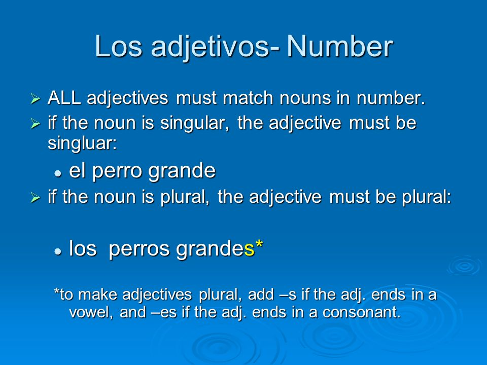 Los adjetivos- Number ALL adjectives must match nouns in number. ALL adjectives must match nouns in number. if the noun is singular, the adjective mus
