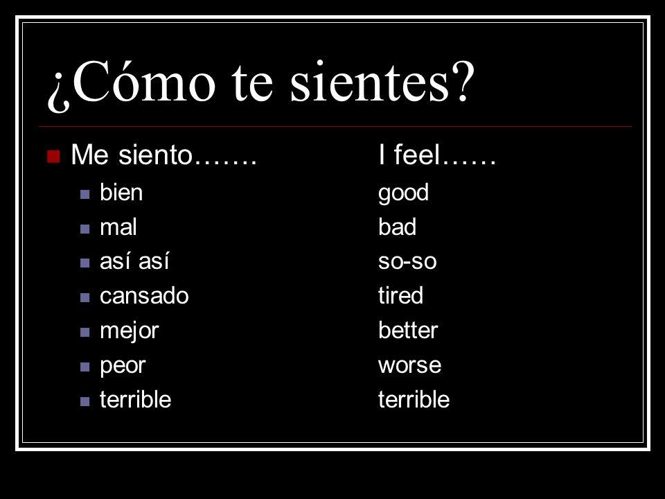 ¿Cómo te sientes.Me siento…….