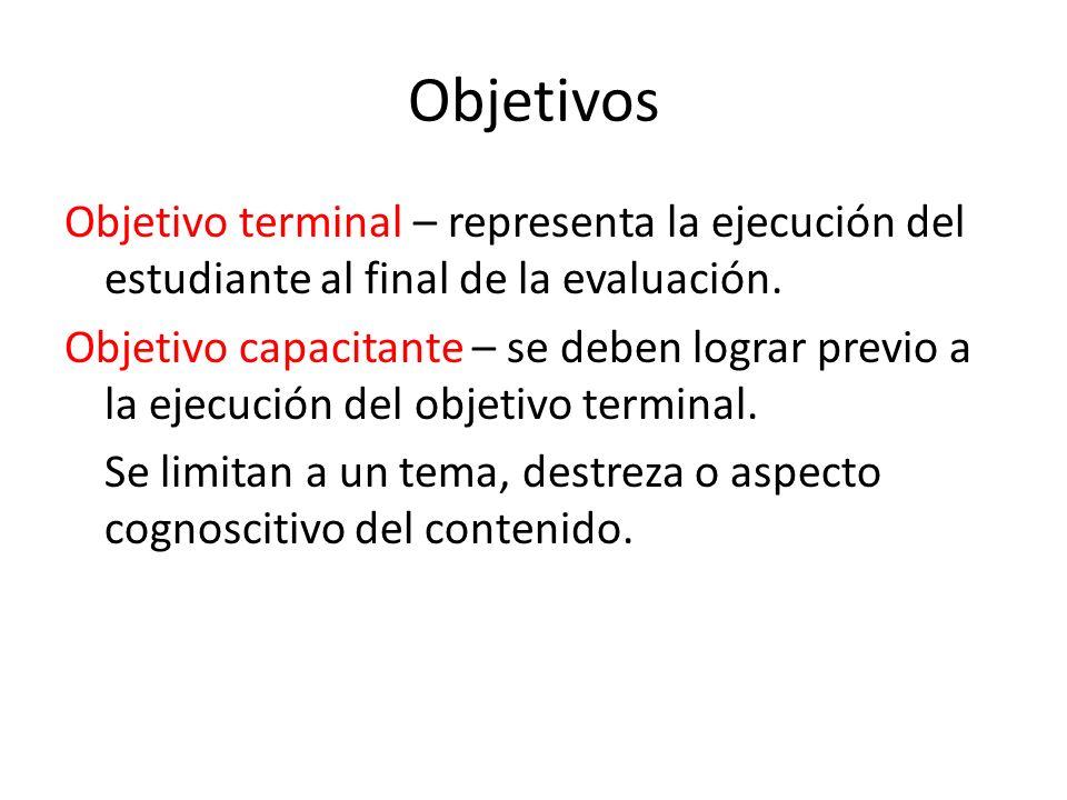 Objetivos Objetivo terminal – representa la ejecución del estudiante al final de la evaluación. Objetivo capacitante – se deben lograr previo a la eje